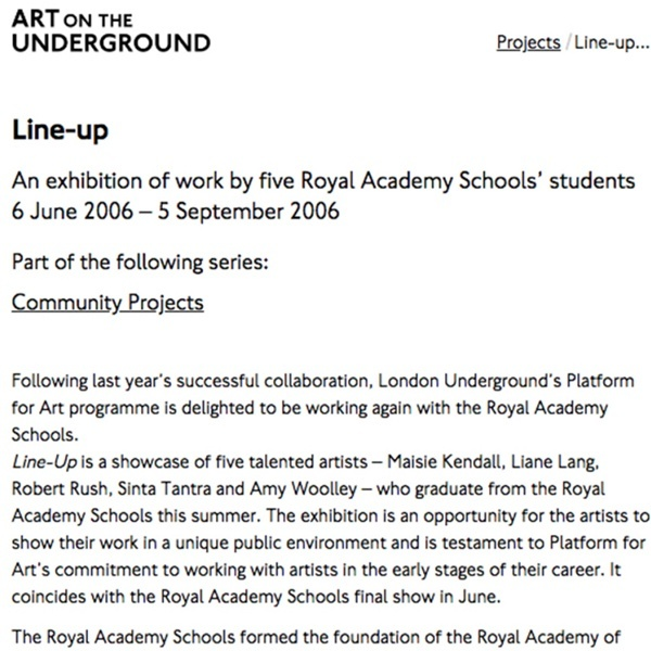 Line-up: An Exhibition of work by five Royal Academy Schools' students